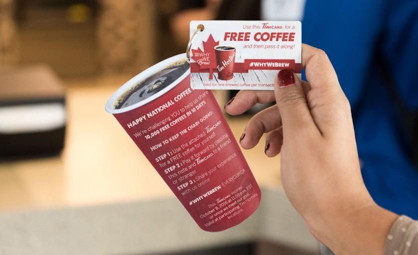 Tim Hortons Challenges Canadians to Pay it Forward. #WhyWeBrew